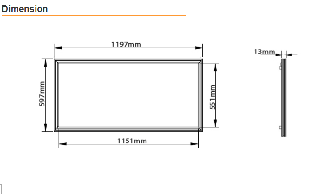 Commercial Led Flat Panel Lights 600 x 600 cm 6000K 3200 Lm 90 lm / watt