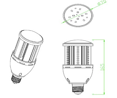 24W 90-277v E40 Led Corn Light For Factory , Corn Led Bulb 180 Degree Beam Angle