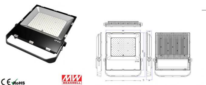 Waterproof IP65 200W 20000lumen 6000K Industrial LED Flood Lights 90V - 265V
